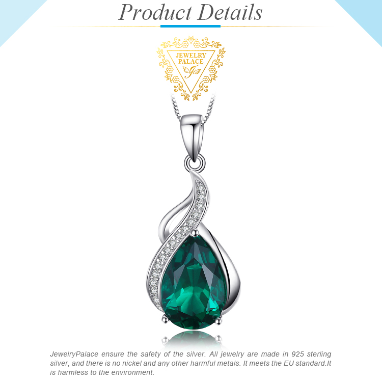 H2034837ae3a9449aba8258d32348cabaI Jpalace Simulated Nano Emerald Pendant Necklace 925 Sterling Silver Gemstones Choker Statement Necklace Women Without Chain