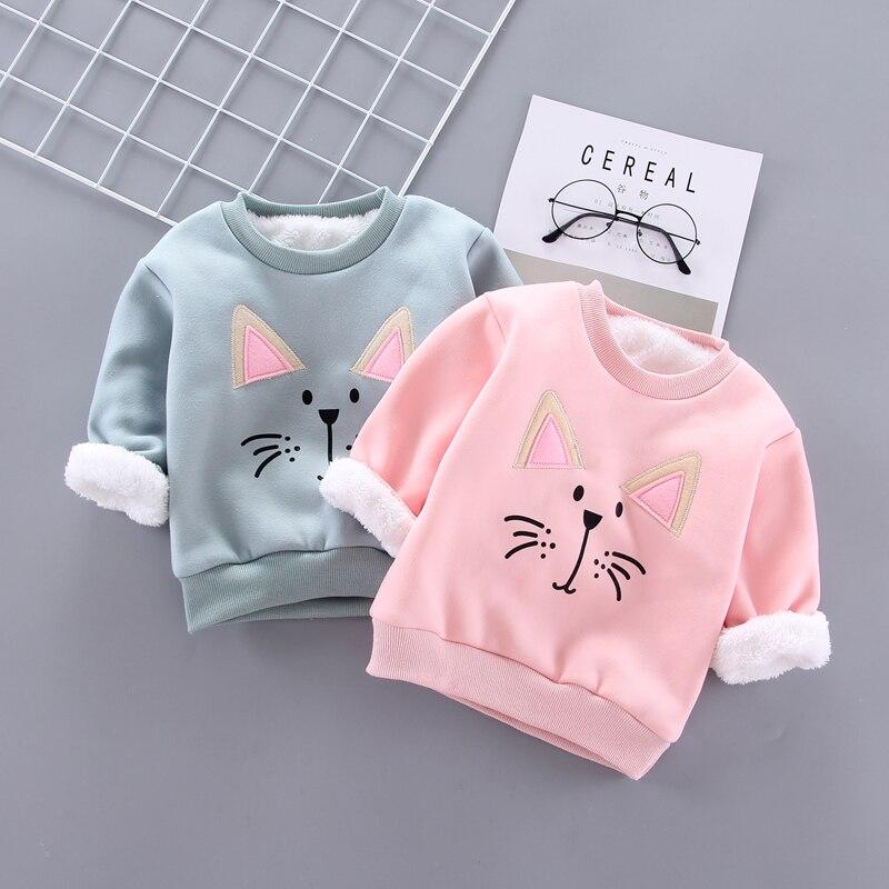IENENS Winter Baby Girls Padded Pullovers Clothing Toddler Boy Sweatshirts Kids Cartoon Bear Hoodies T-shirt 1 2 3 4 Years