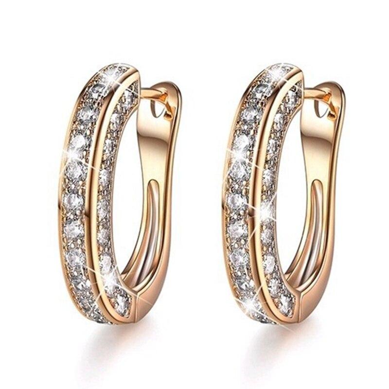 Luxury Austria Crystal Wedding Jewelry Stud Earrings for Women U Shaped Fit Female Earrings for Gift