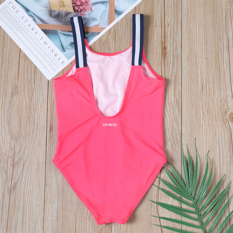 Export France New Style Design One-piece Swimsuit For Children Girls One-piece Rose Red Creative Five-pointed Star Pattern