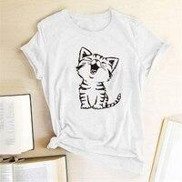 Camisetas con estampado de gato para Mujer, Camisetas estampadas Kawaii para Mujer, Tops de algodón para adolescentes, Camisetas de cuello redondo Harajuku para Mujer