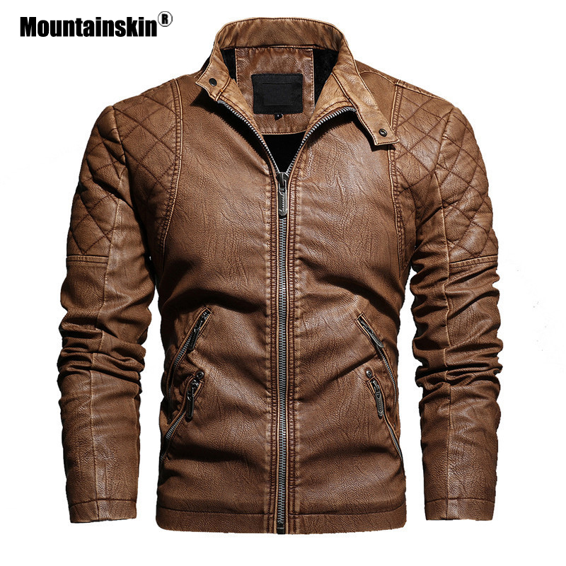 Mountainskin 2020 New Leather Jacket Men Winter Fleece Casual Motorcycle Jackets Autumn Male PU Coat Mens Brand Clothing SA826