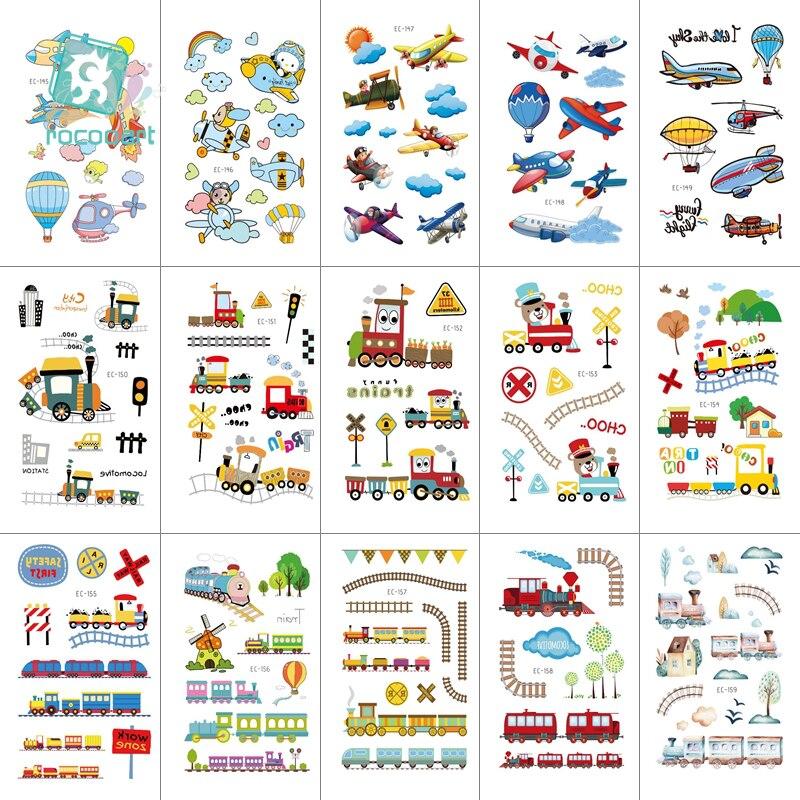 15 Sheets Traffic Tools Set Waterproof Temporary Tattoo Kids Cartoon Bus Car Plane Ship Tattoo Stickers Children Birthday Party