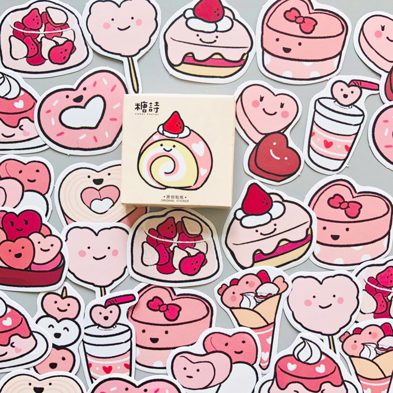 46 Pcs /Box Delicious Pink Heart Sweet Cake Decorative Diary Album Stickers