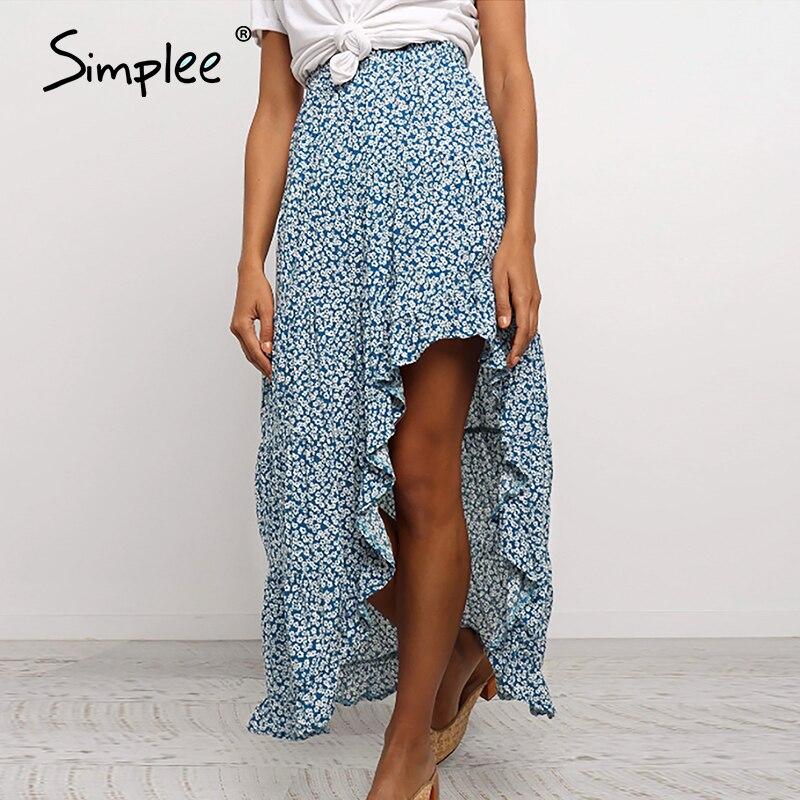Simplee Bohemian Floral Print Women Skirt Elegant Ruffled Front Split Female Midi Skirt Vintage Casual Beach Ladies Summer Skirt