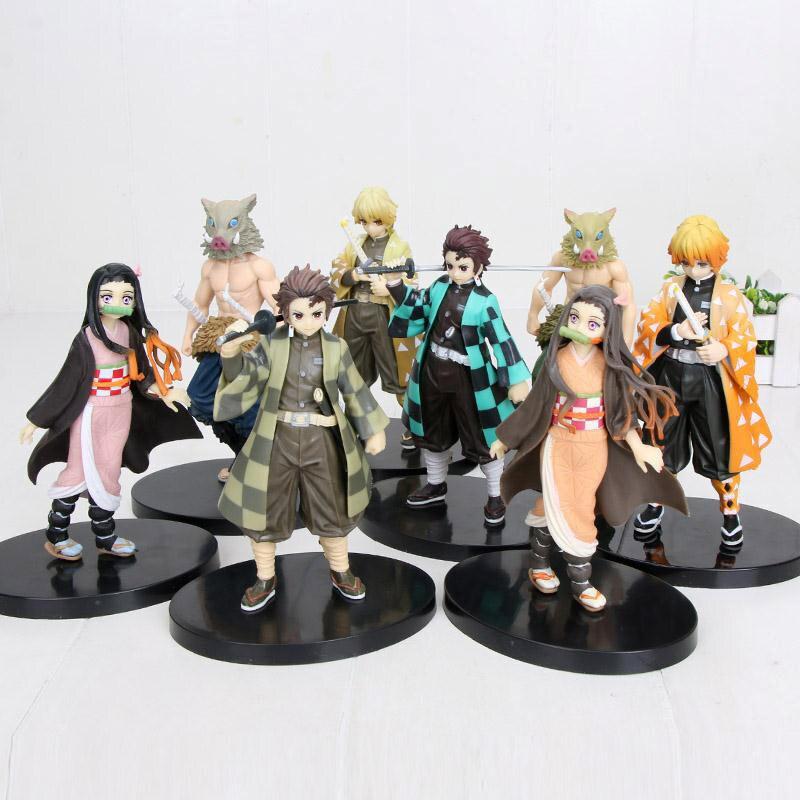 Anime Figurine Model Demon Slayer Kimetsu No Yaiba Kamado Tanjirou Agatsuma Zenitsu Hashibira Inosuke Action Figures Toys Gift