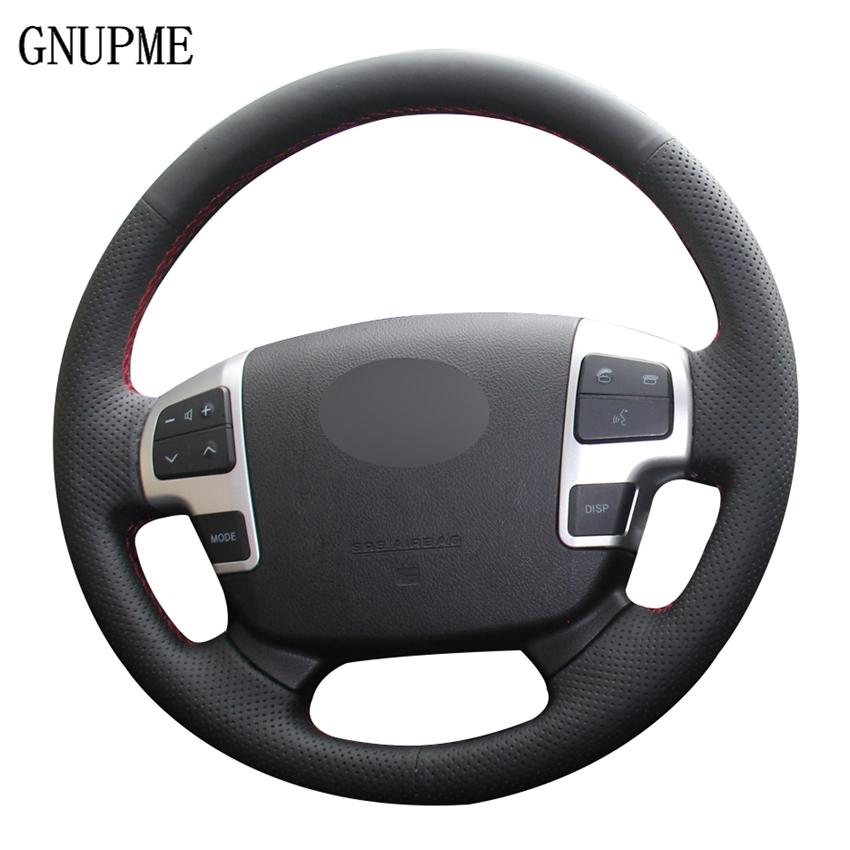 DIY Black Artificial Leather Car Steering Wheel Cover for Toyota Land Cruiser LC2008-2015 Tundra 2007- 2013