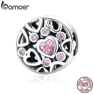 Женские браслеты и ожерелья BAMOER, подвески из стерлингового серебра 925 пробы с розовым камнем в форме сердца и бусинами, ювелирные изделия, ...
