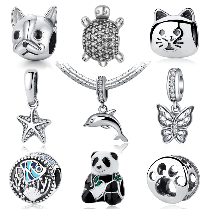 NBSAMENG 100?5 Sterling Sliver Bead Turtle With Full Crystal Charms Animal Beads Fit Original Bracelets Necklace DIY