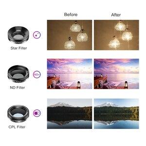 Image 5 - APEXEL جديد الهاتف عدسة الكاميرا عدة 6 في 1 عين السمكة عدسة 205 درجة زاوية واسعة 25X عدسة ماكرو CPL/ستار ND32 تصفية للهواتف الذكية