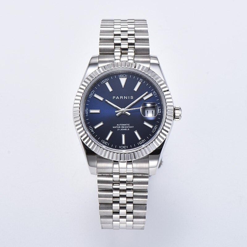Parnis Blue Dial Automatic Mechanical Watches Men Calendar Men's Watch Reloj Automatico De Hombre Jam Tangan Pria 2020 Luxury