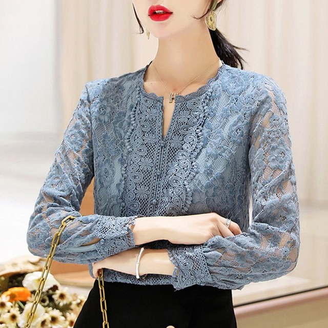Autumn Fashion Vintage Blouse Women 2021 New Long Sleeve Floral Lace Womens Blouse Office Lady Casual Shirt For Women Tops 11303 3