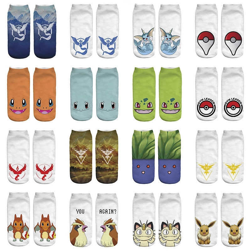 Kawaii Pokemon Go Boy Girl Unisex Cotton Polyester Socks Funny Woman Cute Socks Japanese Cartoon Printed Women Man Short Socks