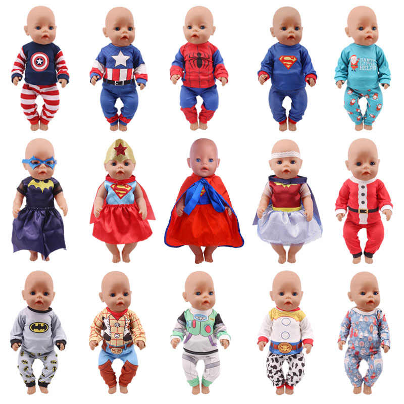 Doll Clothes 15 Styles 2 Pcs/Set Pajamas Super Hero Series Spider-man For 18 Inch American&43 Cm Born Logan Boy Doll Christmas