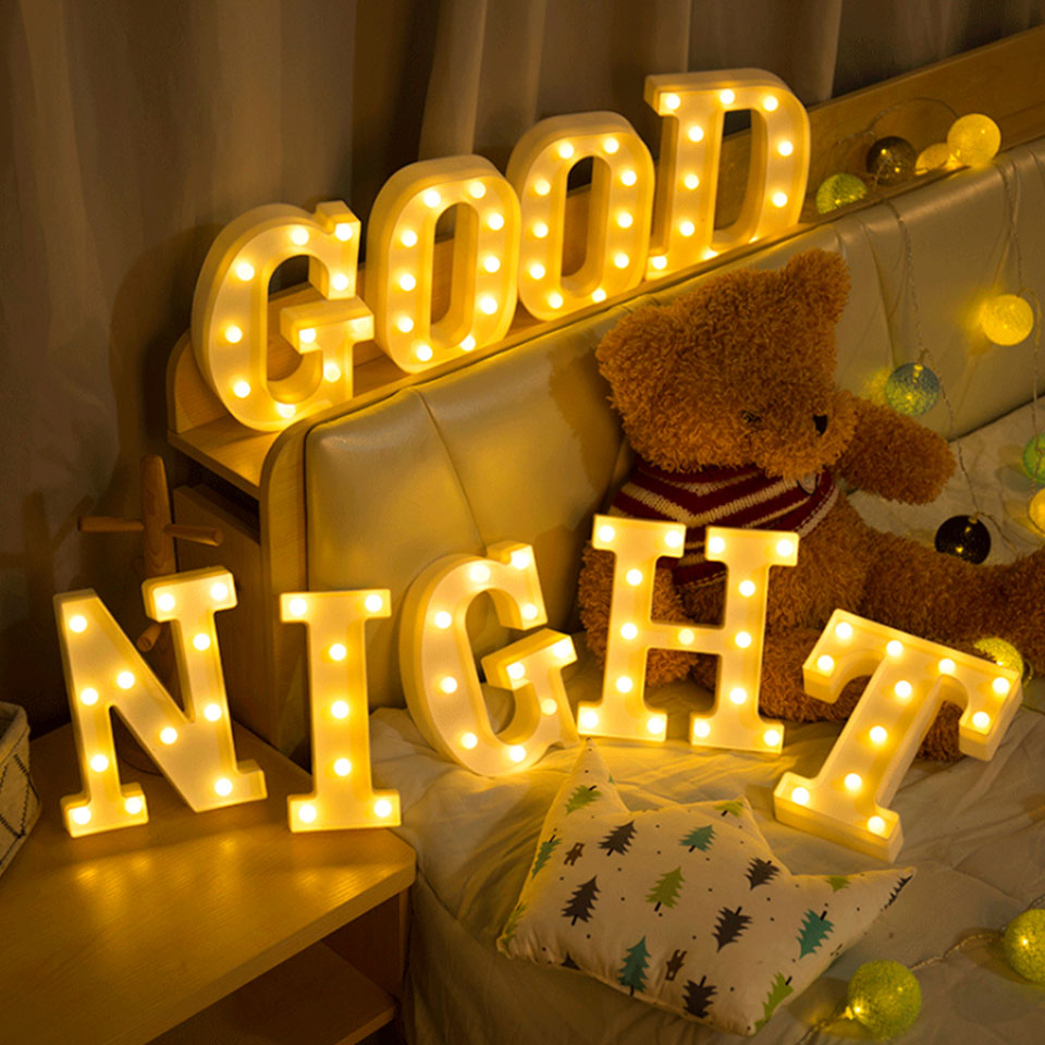 3D Letter Lamp Letters Led Night Light Alphabet Letter Lights Led  Marquee Sign For Birthday Wedding Party Wall       Home Decor
