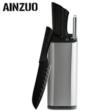 AINZUO Stainless Steel Knife Black Kitchen Dropship Sharpener Holder Cutlery Cooking Knives Accessories