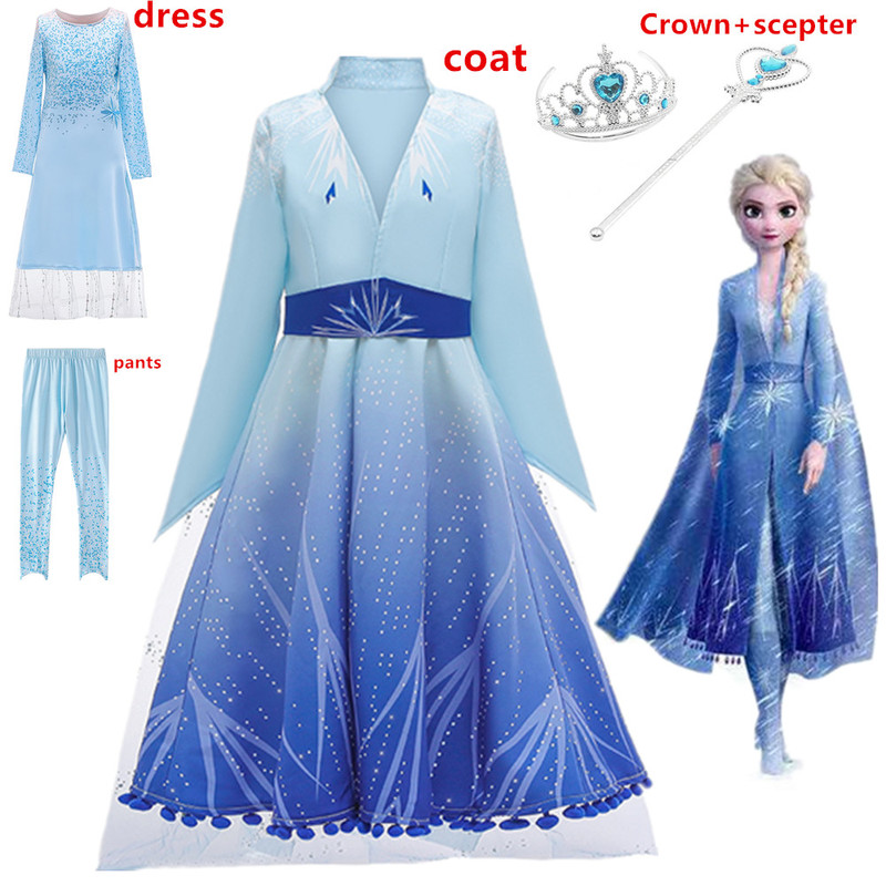Girls Elsa Dress New Snow Queen 2 Costumes For Kids Elsa&anna Cosplay Princess Dresses Children's Christmas Birthday Set Clothes