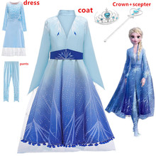Girls elsa dress new snow queen 2 costumes for kids Elsa&anna cosplay