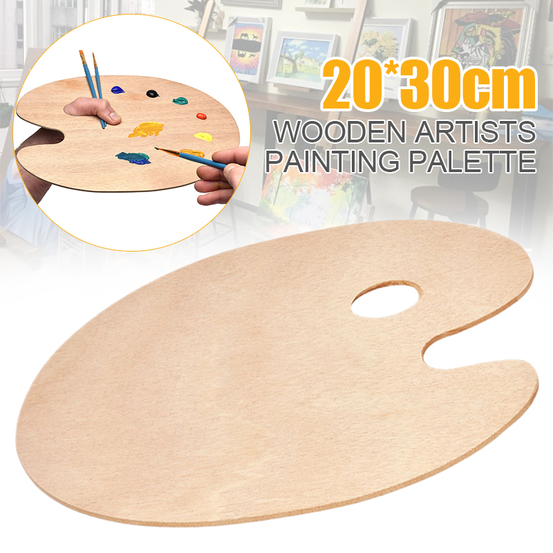 Wooden Artists Painting Palette Oil Paint Ellipse Drawing Palette 20cm X 30cm Oval Craft Painting Tray With Hole Wood Art Crafts