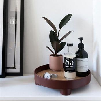 Trayed Ins Nordic Style Multifunctional Storage Tray Soap Box Dish Fruit Cup Erfume Sundries Round Trays