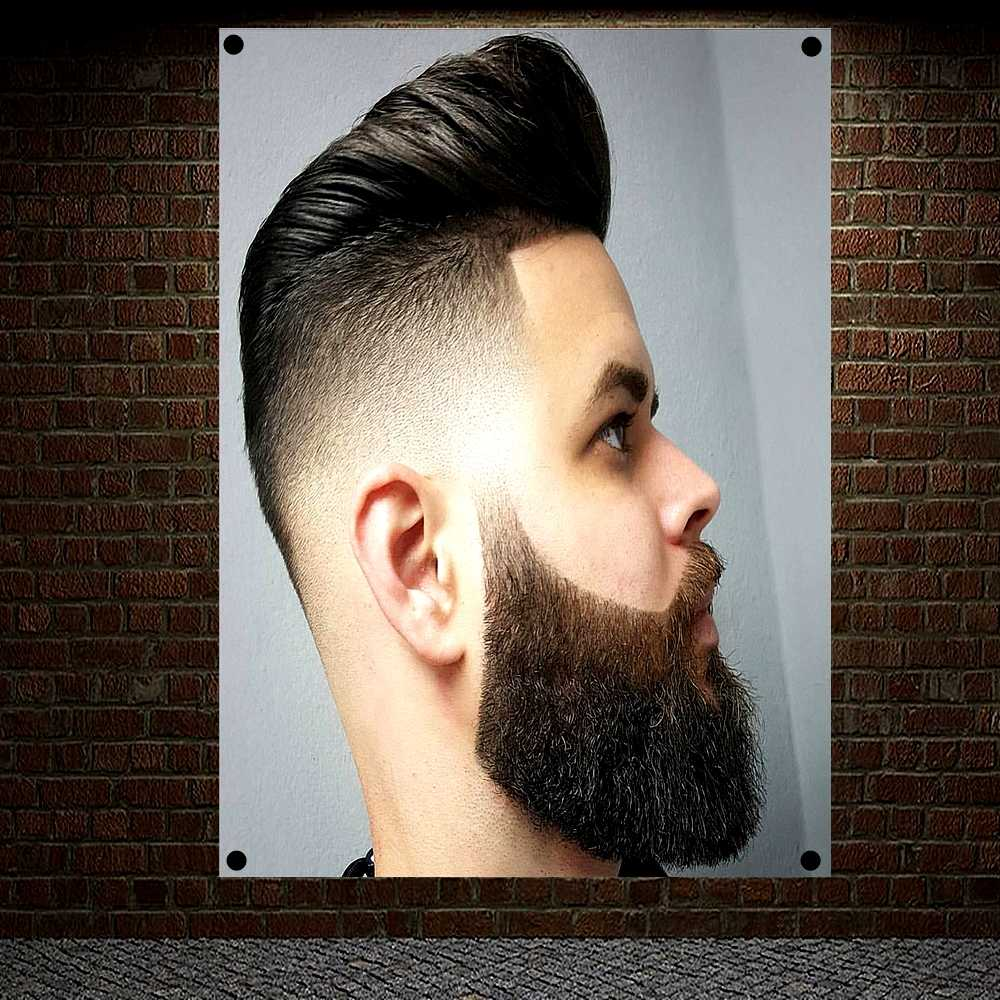 Business Hairstyle Beard Designs Hair Salon Tapestry Banner Flag Four Hole Cloth Art Canvas Painting Barber Shop Wall Decor A1 Flags Banners Accessories Aliexpress