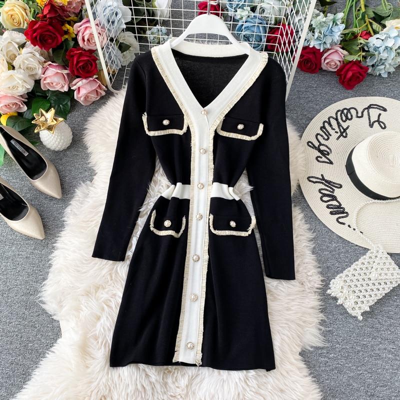 Women's Knit Dress Autumn Winter New Korean Temperament V-neck Long-sleeved Slim Hip Knit Dress Bottoming Sweater Dress ML488 8