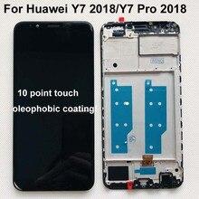 Aaa original para huawei y7 2018/y7 pro 2018/y7 prime, display lcd + touch screen digitalizador substituição de montagem + moldura