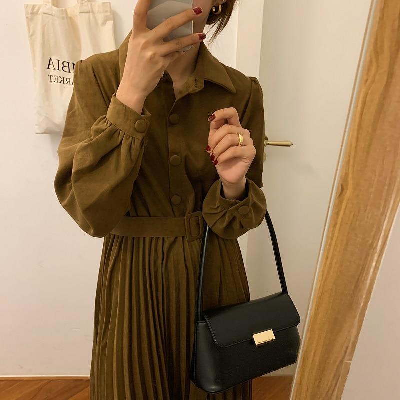 H2035e01a6b564c52b08d0765e5b01c26y - Autumn Turn-Down Collar Long Sleeves Pleated Solid Midi Dress