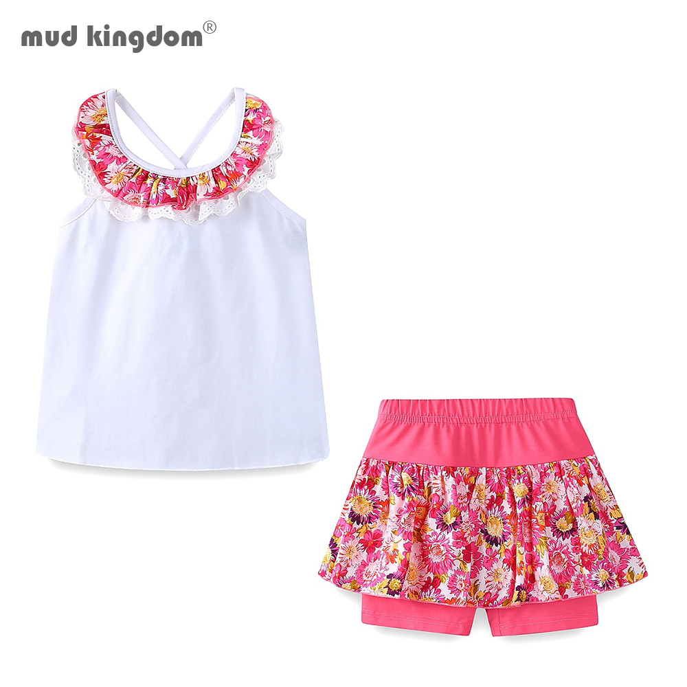 Mudkingdom Floral Summer Girls Outfits Backless Lace Collar Tops and Short Culottes Holiday Clothes for Kids 1