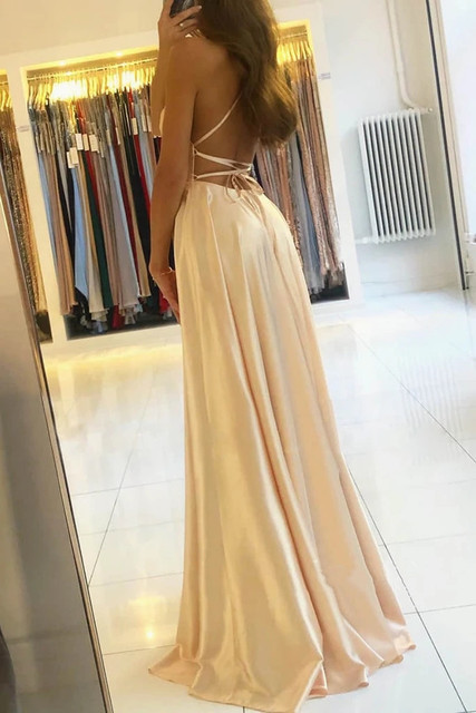 Womens Straps Prom Dress Long High Split Satin Evening Gowns Prom Spaghetti Formal Party Bridesmaid Dresses For Wedding 3