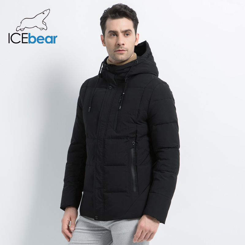 ICEbear 2019 New Winter  Fashion Brand Parkas Men's Jacket Simple Fashion Hooded Coat Knit Cuff Design Male's Jackets MWD18926D