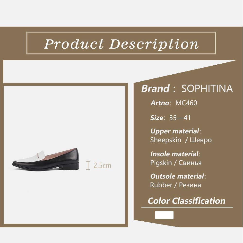Sophitina Hỗn Hợp Màu Sắc Đế Bằng Da Thật Cao Cấp Chính Hãng Giày Mũi Nhọn Thời Trang Giày Gót Vuông Thoải Mái Bãi MC460