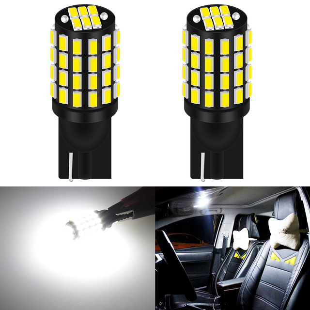 Pack of 10 QAUBEN CanBus T10 194 LED Bulb 18-SMD 3014 Chipsets 194 168 175 2825 W5W Bulb LED Car Interior Map Dome Map Side Marker Number Plate Lights White 12V