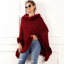 Frauen Winter Warme Mantel Poncho Freizeit Unregelmäßige Top Cape Pullover Rollkragen Poncho Mantel Einfarbig Frauen Pull Femme Ponchos(China)