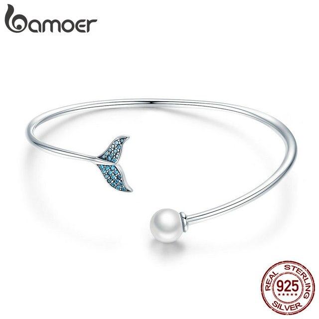 BAMOER pulsera de plata de ley 100% Plata de Ley 925 con cola de sirena azul, brazalete con perlas, joyería de plata delicada SCB123