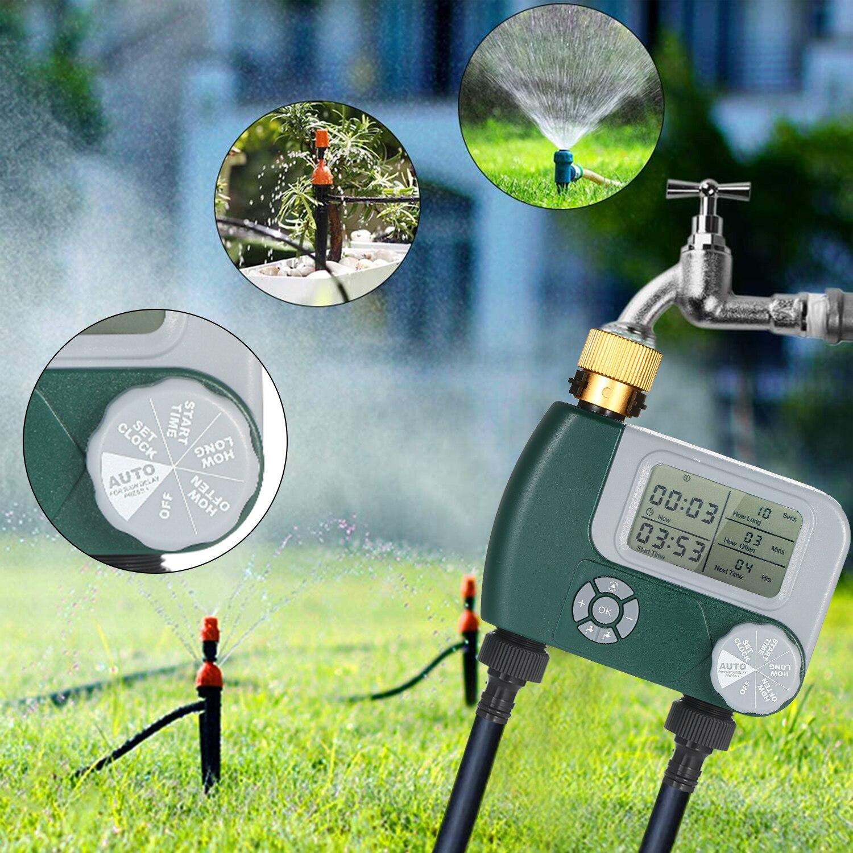 Programmable numérique tuyau robinet minuterie à piles automatique arrosage système d'arrosage contrôleur d'irrigation avec 2 prises