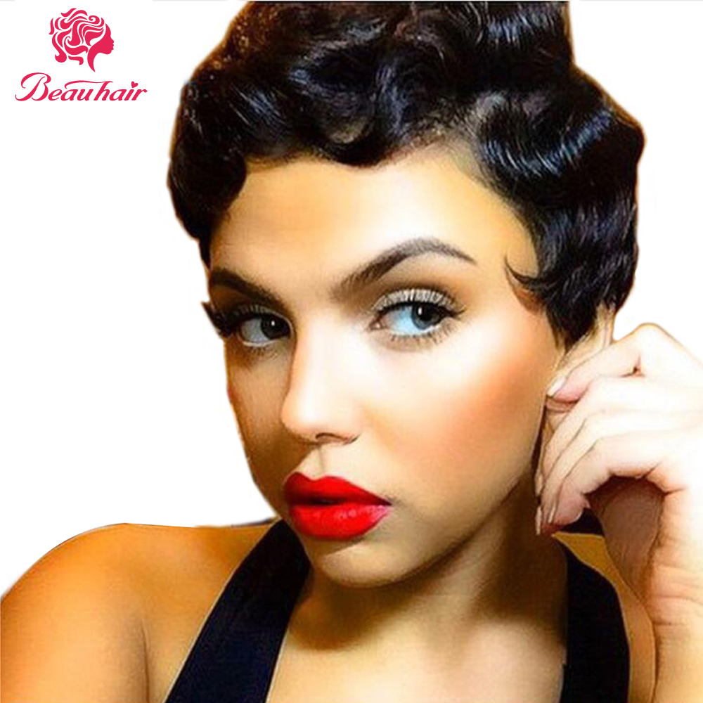 Beauhair Wigs Hepburn Style Finger Wave Short Lace Human Hair Wigs For Women Brazilian Ocean Wave Non-Remy Human Hair Lace Wigs