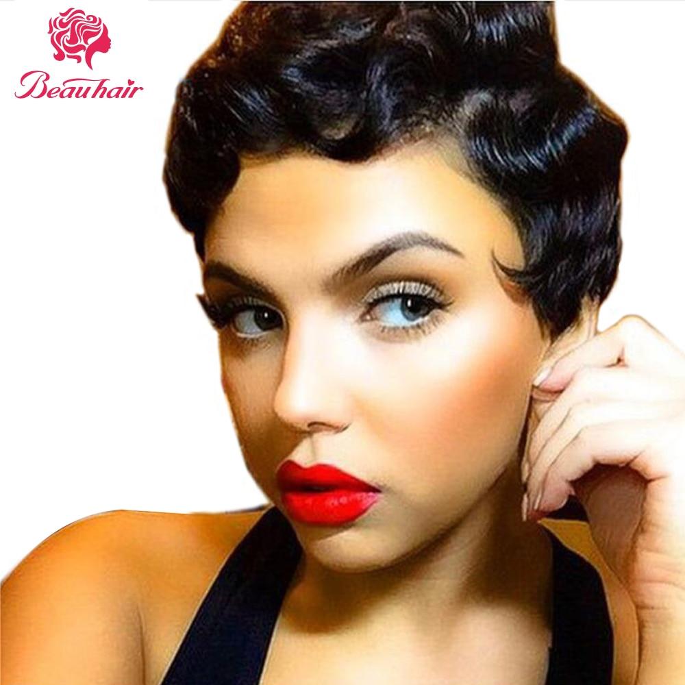 Beauhair Wigs Hepburn Style Finger Wave Short Lace Human Hair Wigs For Women Brazilian Ocean Wave Non-Remy Human Hair Lace Wigs