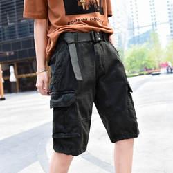 Европа и США хлопок мульти-Карманные женские комбинезоны летние свободные Пять штанов большие размеры c