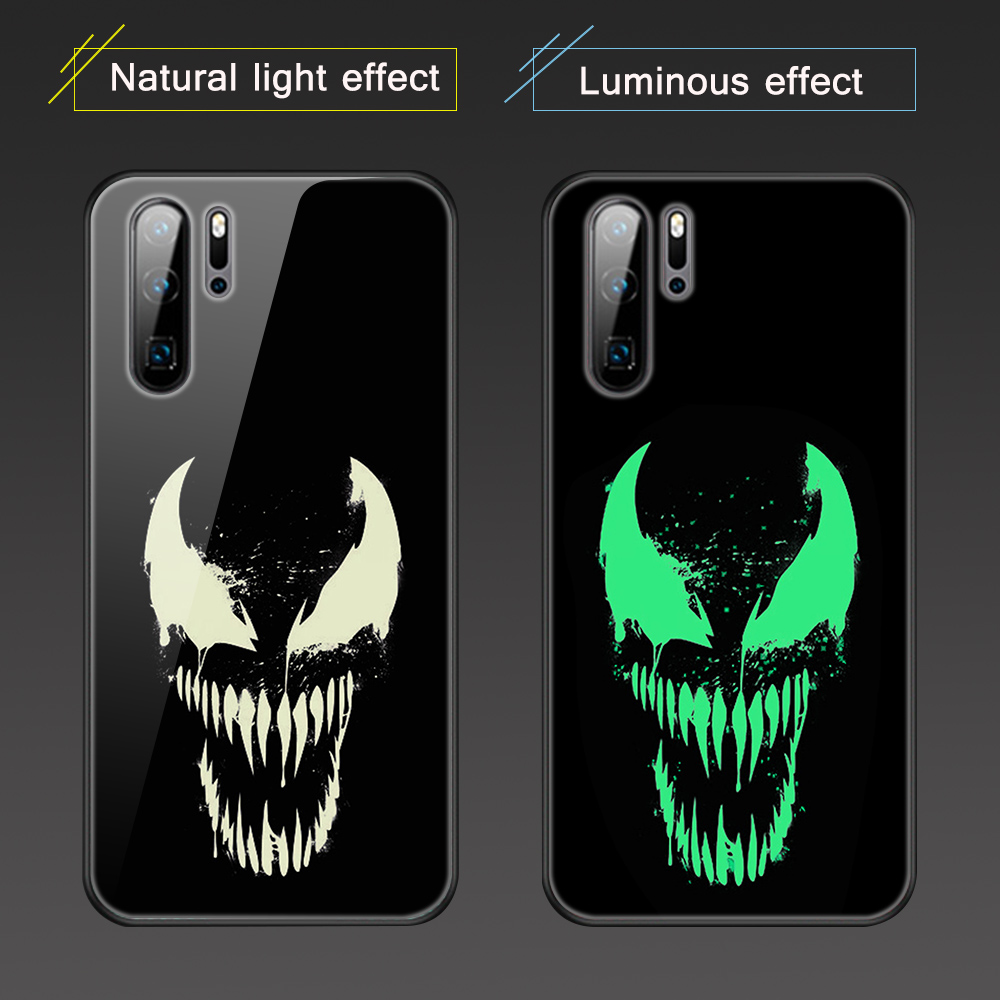 Venom Luminous Glass <font><b>Cases</b></font> for <font><b>Huawei</b></font> P20 P30 P10 Pro P Smart Plus Lite 2019 Z for <font><b>Honor</b></font> 20 <font><b>20i</b></font> 10 10i 9 7A 9X Pro Lite Cover image