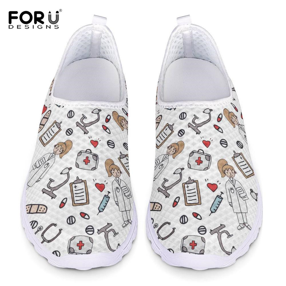 FORUDESIGNS Hot Cartoon Nurse Design Women Mesh Flats Shoes Brand Designs Nursing Shoes Girls Casual Footwear Walking Sneakers image