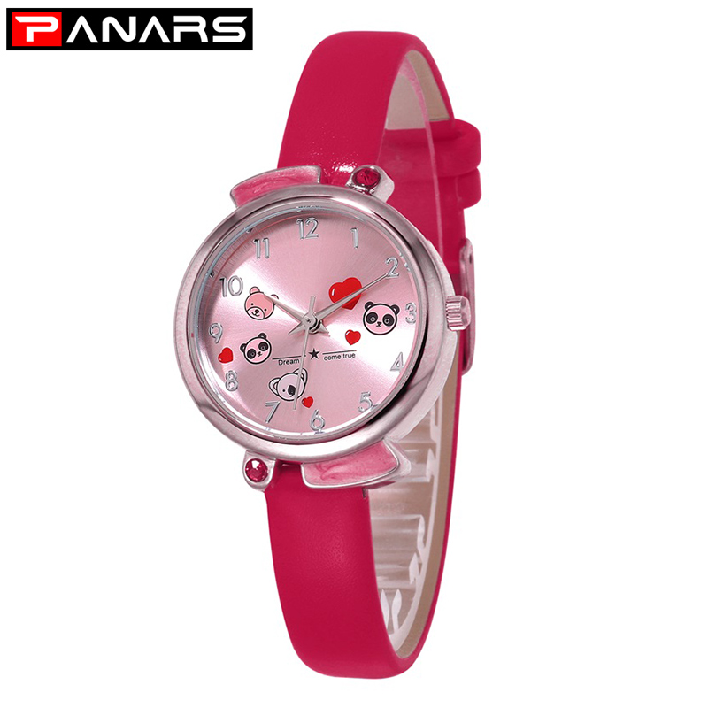 PANARS Panda Love Cartoon Children's Watch Waterproof Quartz Watch Kids Girls Boys Gift Pu Leather Strap Montre Pour Enfants