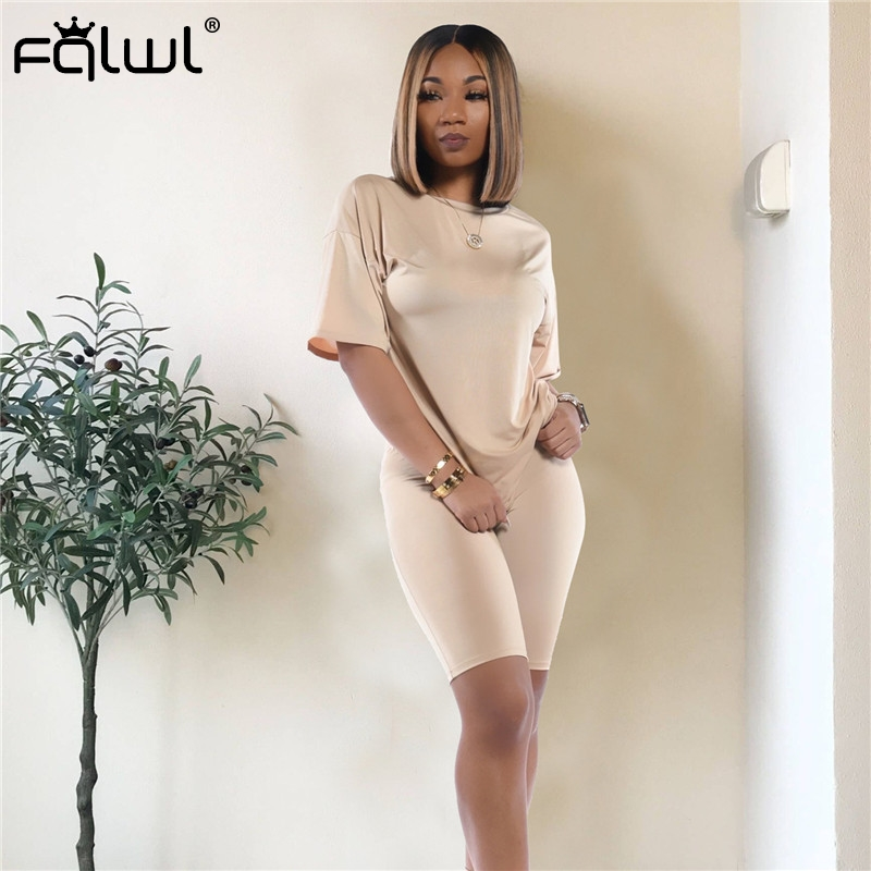 FQLWL Casual Two Piece Set Women Suit Matching Sets Pink Outfits Summer Clothes For Women Crop Top Biker Shorts Set Tracksuit