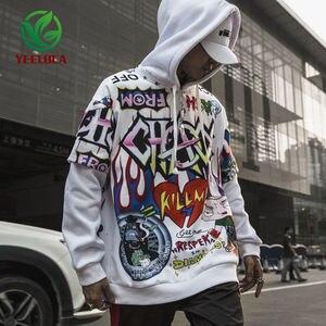 Image 2 - Sudadera con grafiti para hombre, ropa informal de Hip Hop, moda urbana, Top de gran tamaño, 2019
