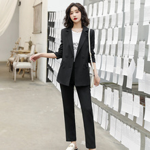 Fashion Business Pant Suits Uniform Formal Single Breasted Jacket and Long Pant Black Blazer Set Women OL 2 Two Pieces Suits