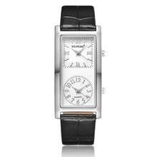Senhoras relógio minimalista 2 duplo dial fuso horário das mulheres moda elegante relógio de pulso quartzo pulseira couro relogio feminino
