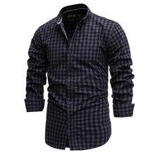 Spring 2021 New Cotton Plaid Shirt Men's Slim Men's Business Casual Shirt High-quality Top Hunting Hiking Inside Wear
