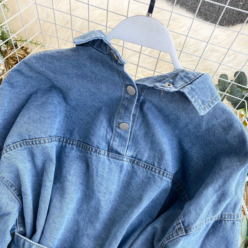 2020 Vintage Sjerpen Slanke Taille Jeans Jas Herfst Winter Vrouwen Denim Jasje Koreaanse Knoppen Backless Lange Bovenkleding
