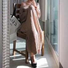 Женское винтажное длинное платье свитер свободное трикотажное