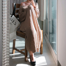 New Vintage Warm Autumn Sweater Women Dress Winter Long Sweater Knitted Dresses loose Maxi Oversize Lady Dresses Robe Vestidos